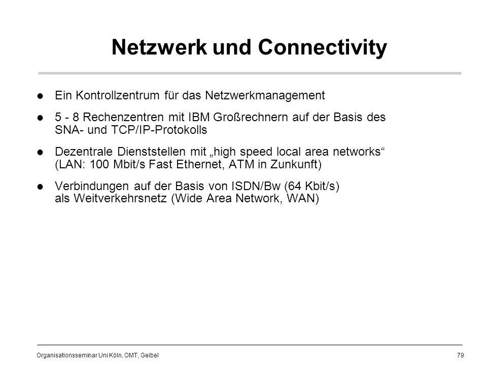79 Organisationsseminar Uni Köln, OMT, Geibel Netzwerk und Connectivity Ein Kontrollzentrum für das Netzwerkmanagement 5 - 8 Rechenzentren mit IBM Großrechnern auf der Basis des SNA- und TCP/IP-Protokolls Dezentrale Dienststellen mit high speed local area networks (LAN: 100 Mbit/s Fast Ethernet, ATM in Zunkunft) Verbindungen auf der Basis von ISDN/Bw (64 Kbit/s) als Weitverkehrsnetz (Wide Area Network, WAN)