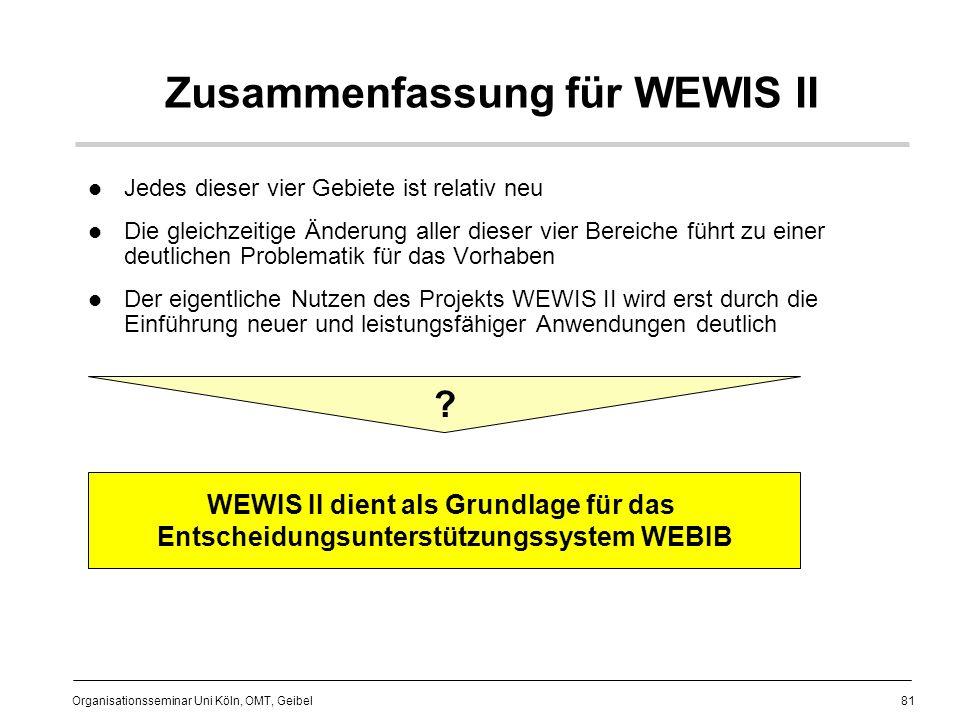 81 Organisationsseminar Uni Köln, OMT, Geibel Zusammenfassung für WEWIS II Jedes dieser vier Gebiete ist relativ neu Die gleichzeitige Änderung aller dieser vier Bereiche führt zu einer deutlichen Problematik für das Vorhaben Der eigentliche Nutzen des Projekts WEWIS II wird erst durch die Einführung neuer und leistungsfähiger Anwendungen deutlich WEWIS II dient als Grundlage für das Entscheidungsunterstützungssystem WEBIB ?