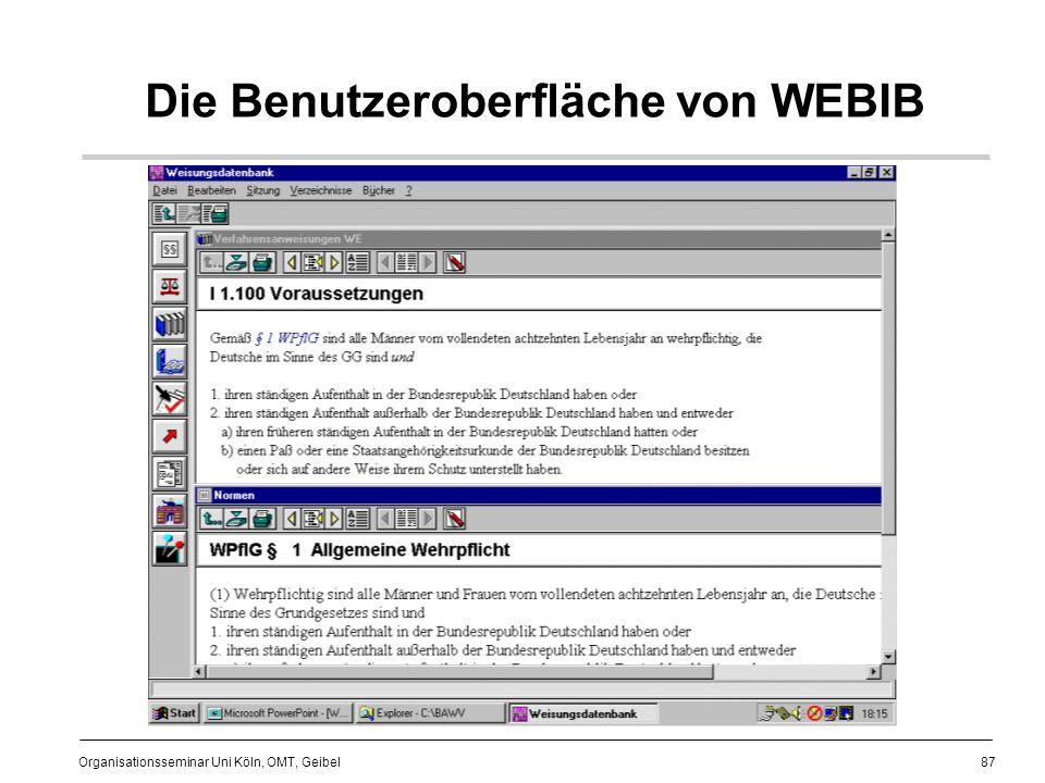 87 Organisationsseminar Uni Köln, OMT, Geibel Die Benutzeroberfläche von WEBIB