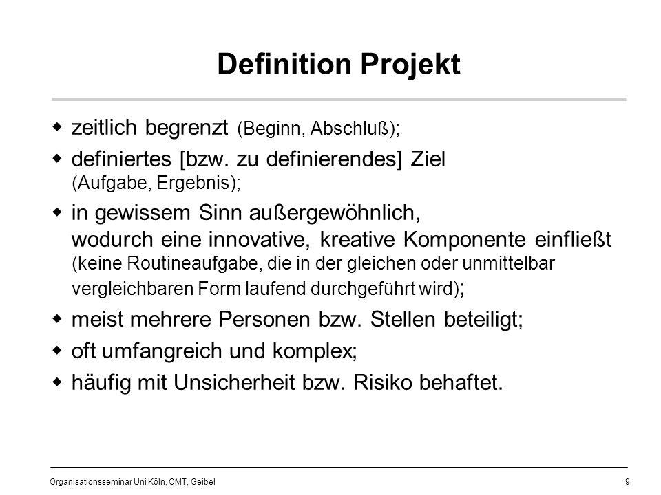 20 Organisationsseminar Uni Köln, OMT, Geibel Ausgangssituation die Bank befindet sich im Aufbau keine festen Zuständigkeiten bzw.