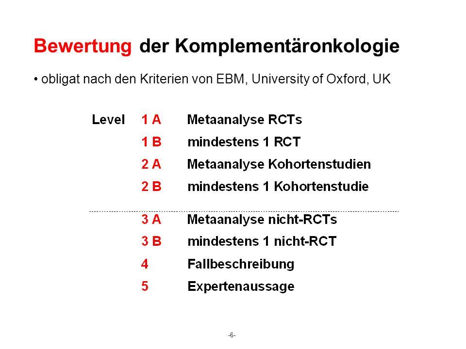Bewertung der Komplementäronkologie obligat nach den Kriterien von EBM, University of Oxford, UK -6-