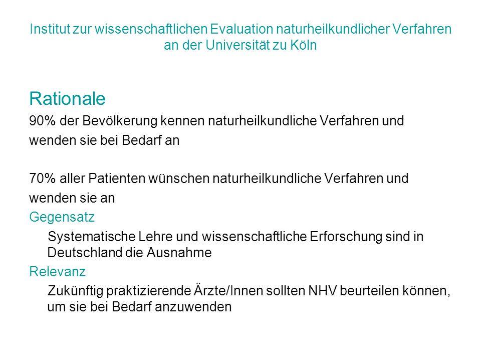 Institut zur wissenschaftlichen Evaluation naturheilkundlicher Verfahren an der Universität zu Köln Rationale 90% der Bevölkerung kennen naturheilkund