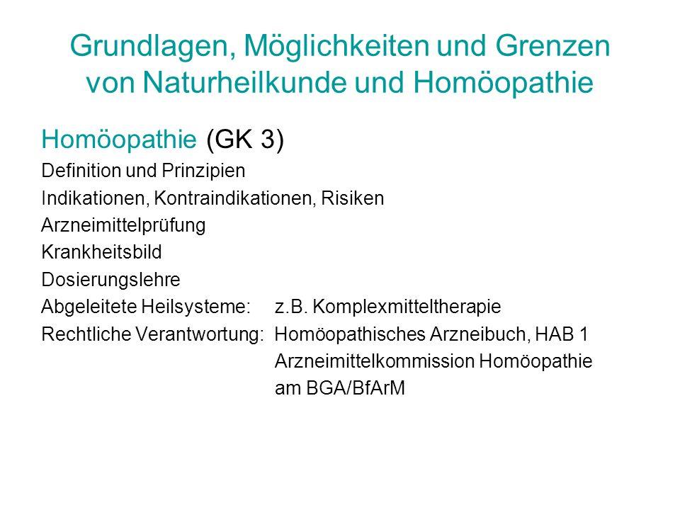 Grundlagen, Möglichkeiten und Grenzen von Naturheilkunde und Homöopathie Homöopathie (GK 3) Definition und Prinzipien Indikationen, Kontraindikationen