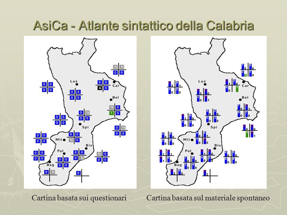 AsiCa - Atlante sintattico della Calabria Cartina basata sui questionariCartina basata sul materiale spontaneo
