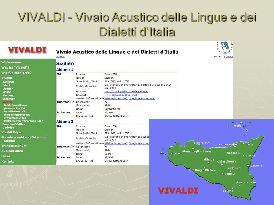 VIVALDI - Vivaio Acustico delle Lingue e dei Dialetti dItalia