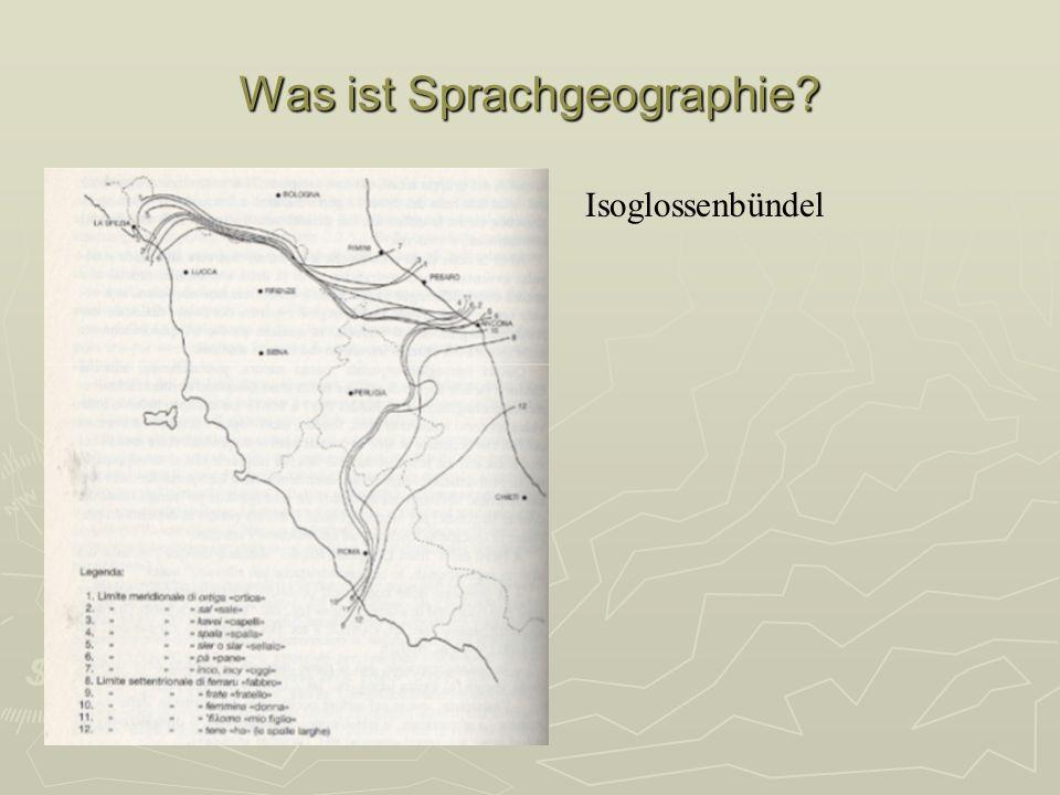 Wissenschaftsgeschichte Begründer: Georg Wenker - Deutscher Sprachatlas (1876) Fragebögen an ca.