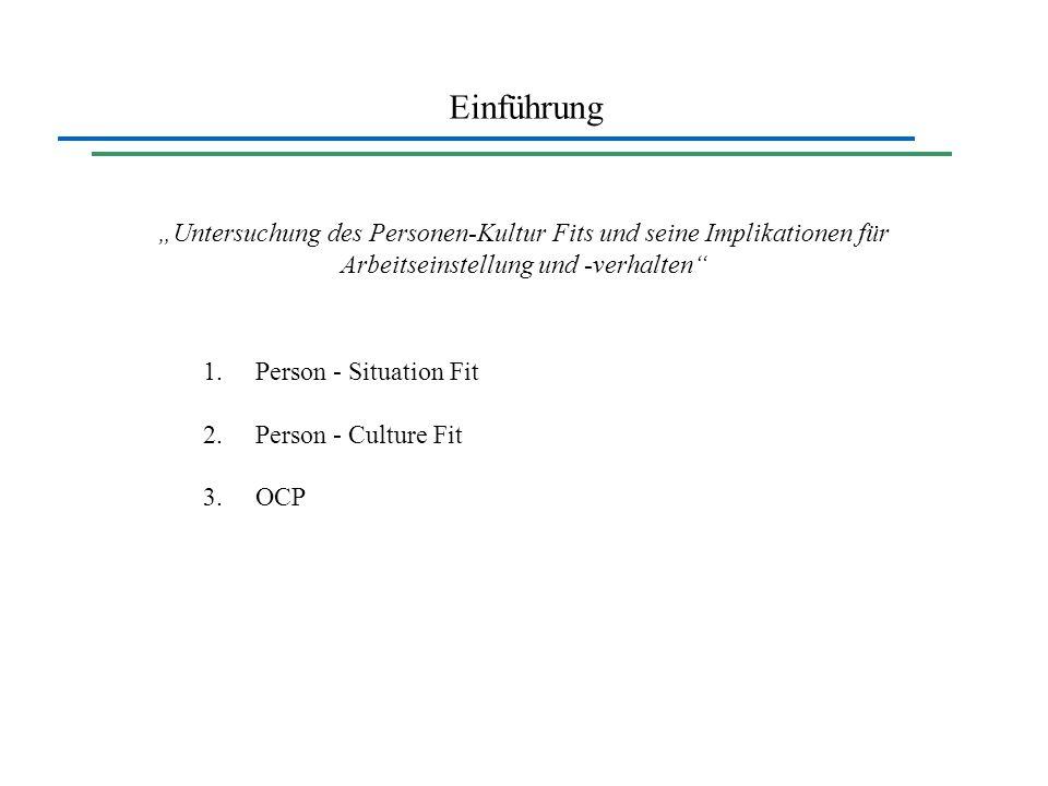 Einführung Untersuchung des Personen-Kultur Fits und seine Implikationen für Arbeitseinstellung und -verhalten 1.Person - Situation Fit 2.Person - Cul