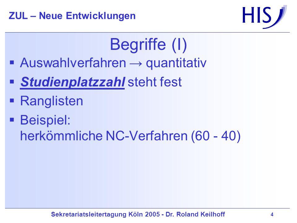 Sekretariatsleitertagung Köln 2005 - Dr. Roland Keilhoff ZUL – Neue Entwicklungen 4 Begriffe (I) Auswahlverfahren quantitativ Studienplatzzahl steht f