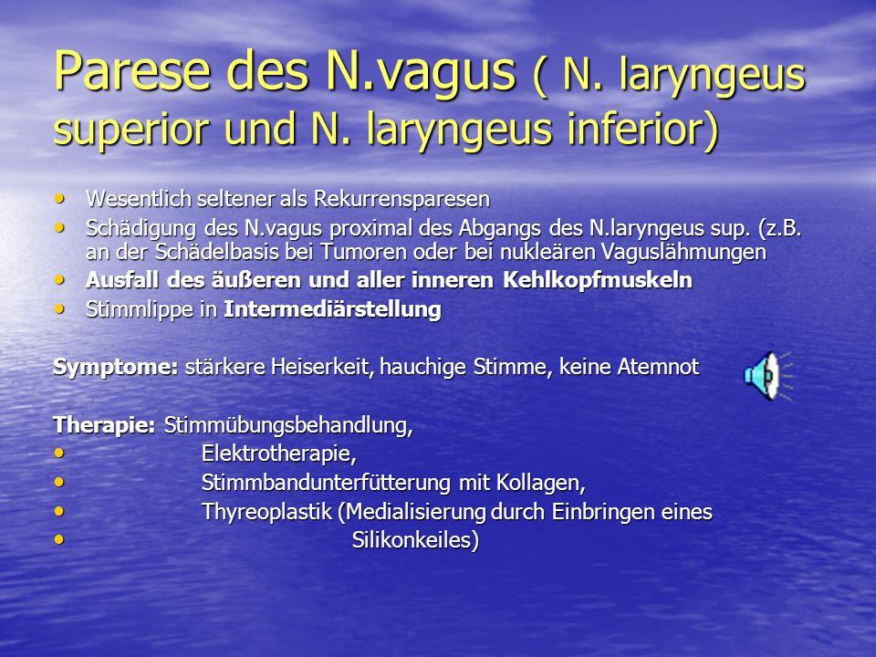 Parese des N.vagus ( N. laryngeus superior und N. laryngeus inferior) Wesentlich seltener als Rekurrensparesen Wesentlich seltener als Rekurrensparese