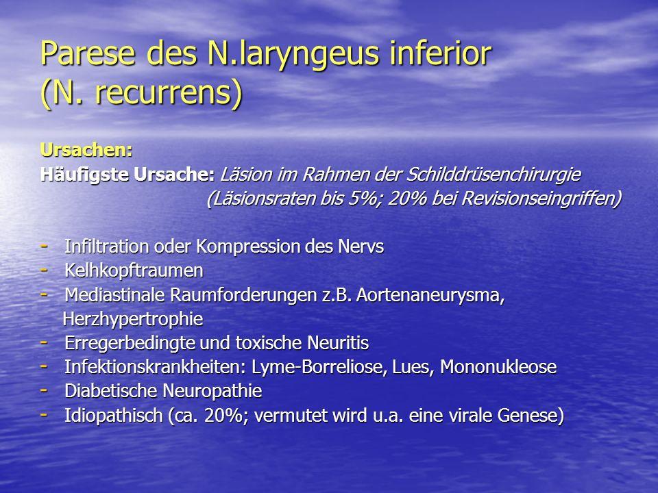 Parese des N.laryngeus inferior (N. recurrens) Ursachen: Häufigste Ursache: Läsion im Rahmen der Schilddrüsenchirurgie (Läsionsraten bis 5%; 20% bei R