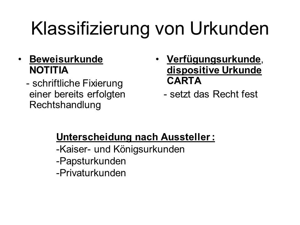 Klassifizierung von Urkunden Beweisurkunde NOTITIA - schriftliche Fixierung einer bereits erfolgten Rechtshandlung Verfügungsurkunde, dispositive Urku