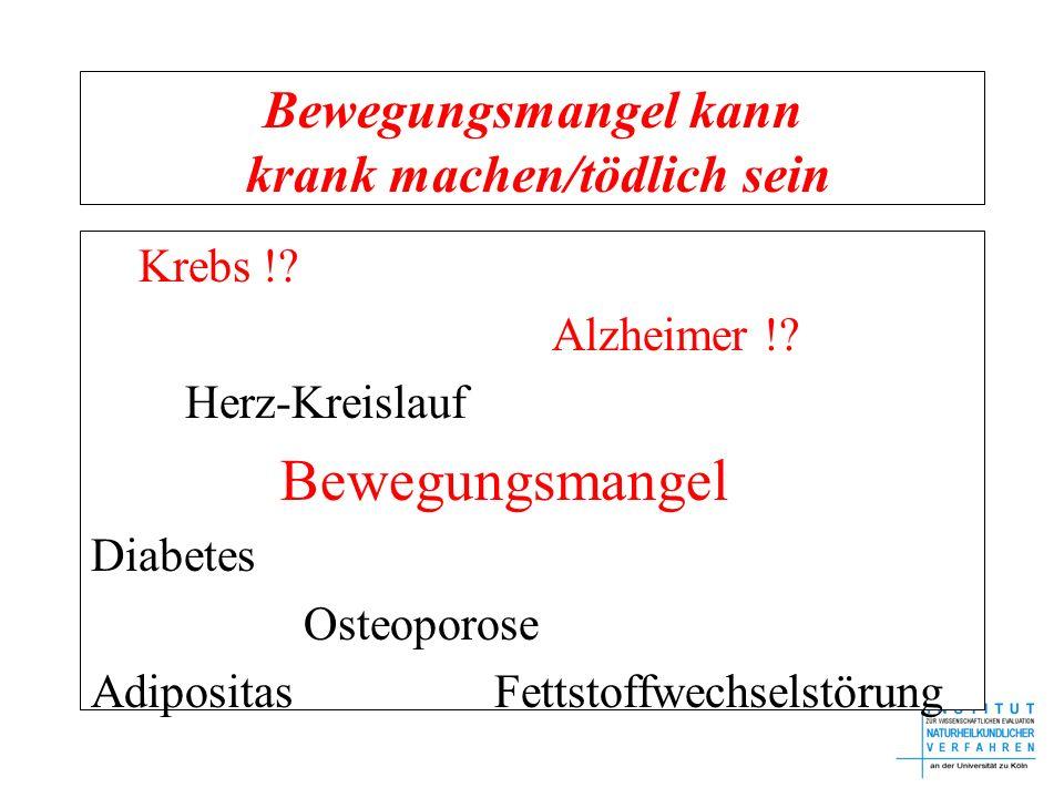 Bewegungsmangel kann krank machen/tödlich sein Krebs !? Alzheimer !? Herz-Kreislauf Bewegungsmangel Diabetes Osteoporose Adipositas Fettstoffwechselst
