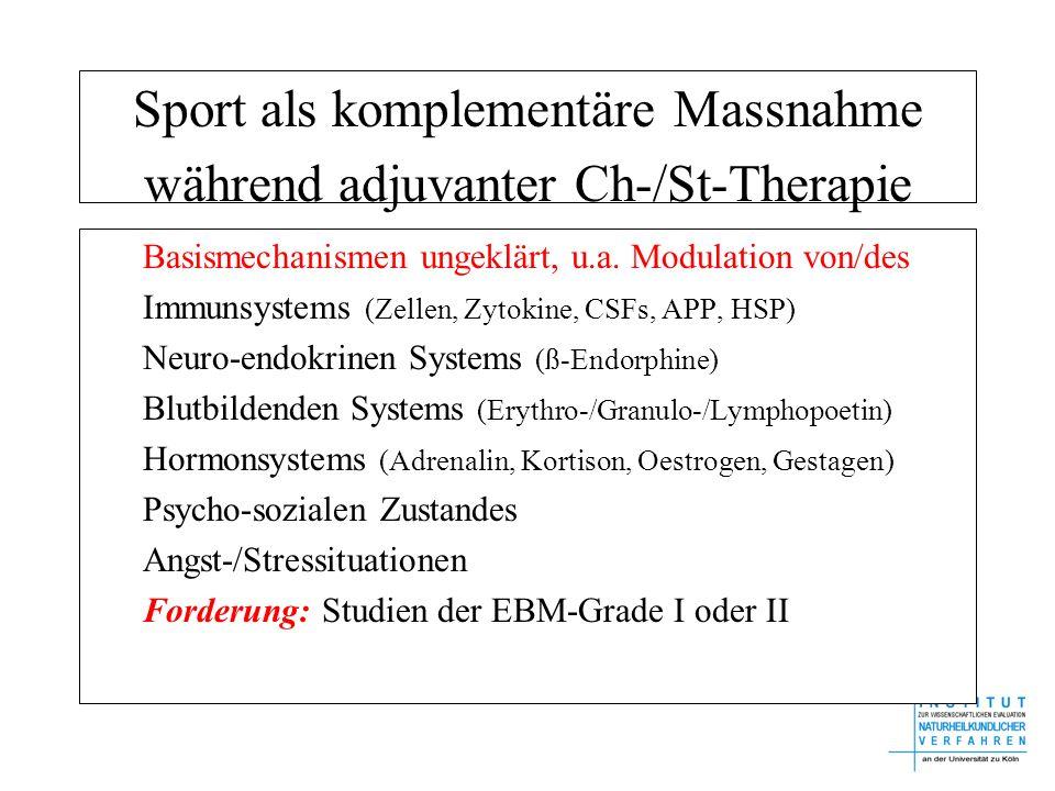 Sport als komplementäre Massnahme während adjuvanter Ch-/St-Therapie Basismechanismen ungeklärt, u.a. Modulation von/des Immunsystems (Zellen, Zytokin