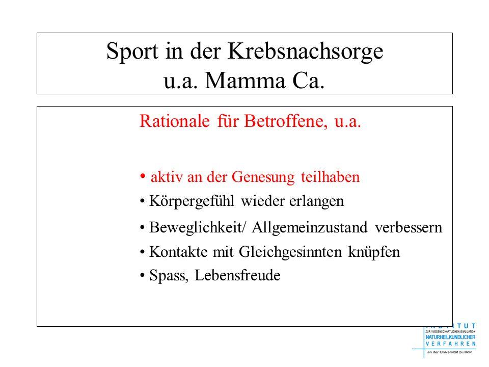 Sport in der Krebsnachsorge u.a. Mamma Ca. Rationale für Betroffene, u.a. aktiv an der Genesung teilhaben Körpergefühl wieder erlangen Beweglichkeit/