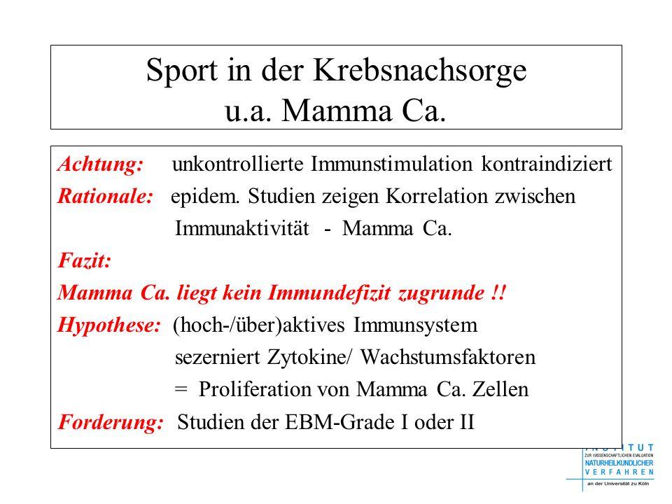 Sport in der Krebsnachsorge u.a. Mamma Ca. Achtung: unkontrollierte Immunstimulation kontraindiziert Rationale: epidem. Studien zeigen Korrelation zwi