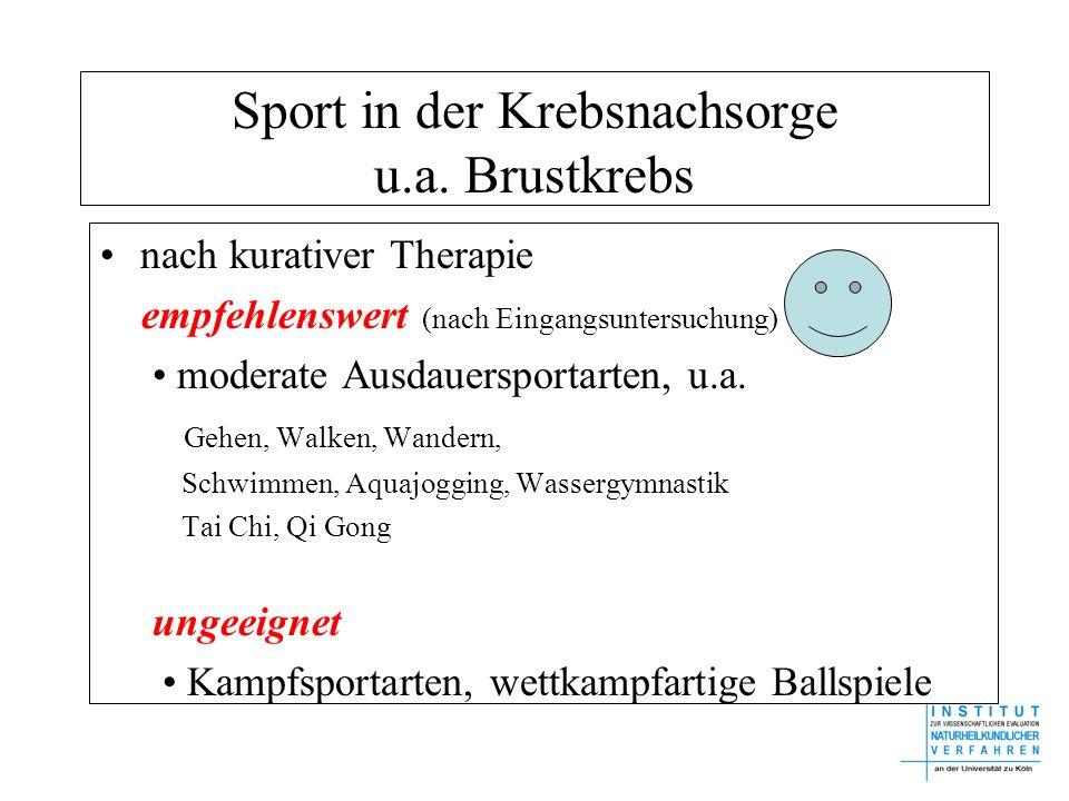 Sport in der Krebsnachsorge u.a. Brustkrebs nach kurativer Therapie empfehlenswert (nach Eingangsuntersuchung) moderate Ausdauersportarten, u.a. Gehen
