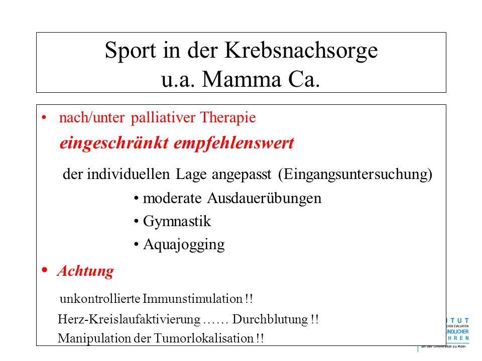 Sport in der Krebsnachsorge u.a. Mamma Ca. nach/unter palliativer Therapie eingeschränkt empfehlenswert der individuellen Lage angepasst (Eingangsunte