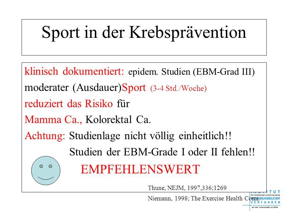 Sport in der Krebsprävention klinisch dokumentiert: epidem. Studien (EBM-Grad III) moderater (Ausdauer)Sport (3-4 Std./Woche) reduziert das Risiko für