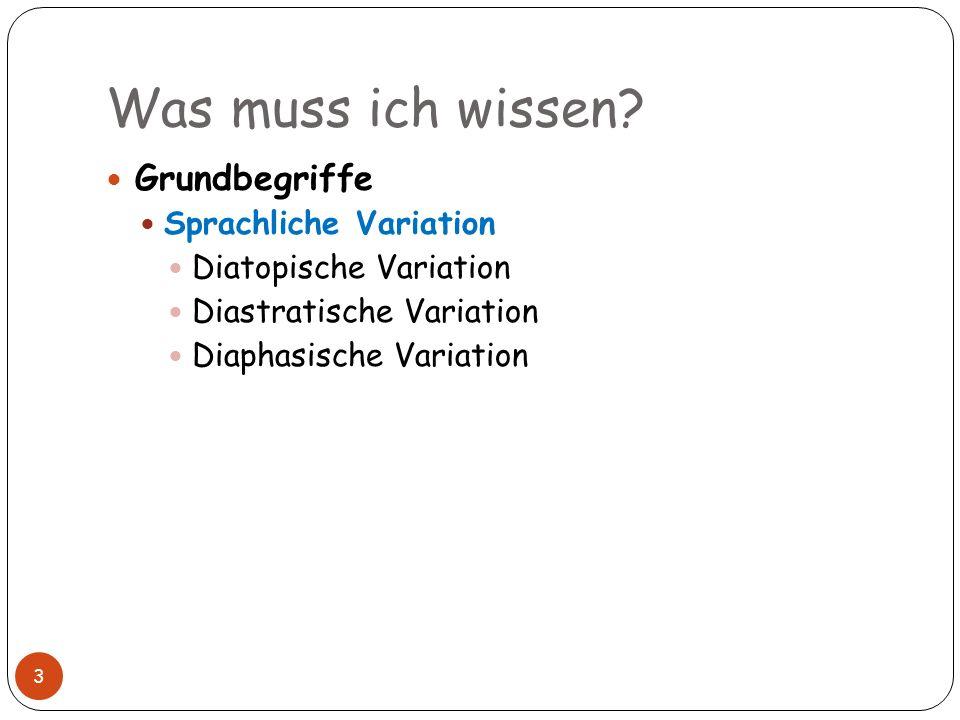 Was muss ich wissen? 3 Grundbegriffe Sprachliche Variation Diatopische Variation Diastratische Variation Diaphasische Variation