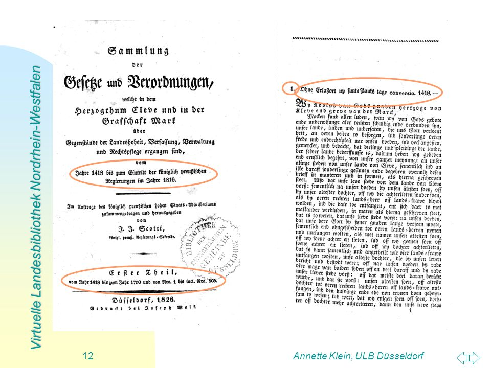 Virtuelle Landesbibliothek Nordrhein-Westfalen Annette Klein, ULB Düsseldorf12