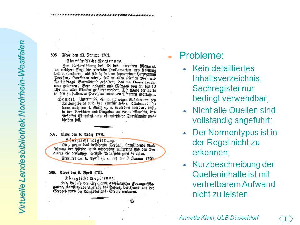 Virtuelle Landesbibliothek Nordrhein-Westfalen Annette Klein, ULB Düsseldorf13 n n Probleme: Kein detailliertes Inhaltsverzeichnis; Sachregister nur b