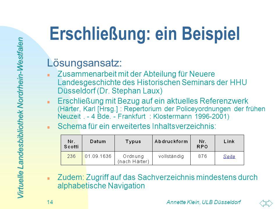 Virtuelle Landesbibliothek Nordrhein-Westfalen Annette Klein, ULB Düsseldorf14 Erschließung: ein Beispiel Lösungsansatz: n Zusammenarbeit mit der Abte
