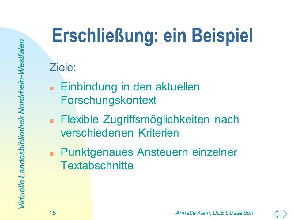 Virtuelle Landesbibliothek Nordrhein-Westfalen Annette Klein, ULB Düsseldorf15 Erschließung: ein Beispiel Ziele: n Einbindung in den aktuellen Forschu