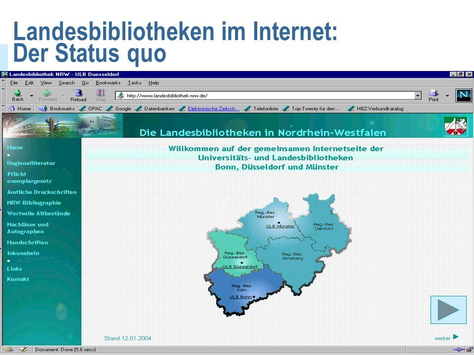 Virtuelle Landesbibliothek Nordrhein-Westfalen Annette Klein, ULB Düsseldorf3 Landesbibliotheken im Internet: Der Status quo