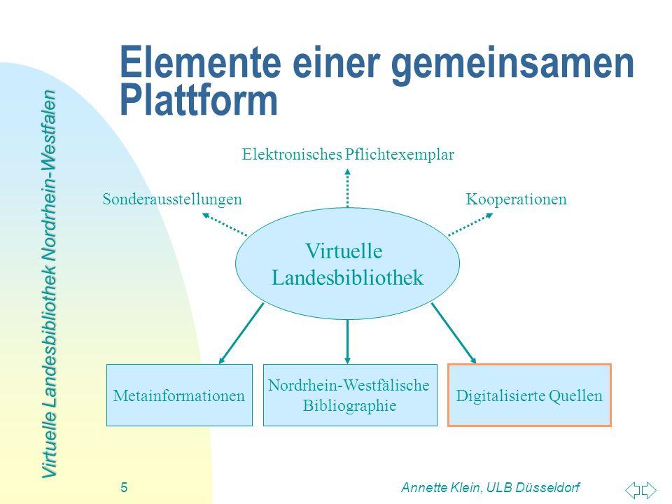 Virtuelle Landesbibliothek Nordrhein-Westfalen Annette Klein, ULB Düsseldorf5 Elemente einer gemeinsamen Plattform Virtuelle Landesbibliothek Nordrhei