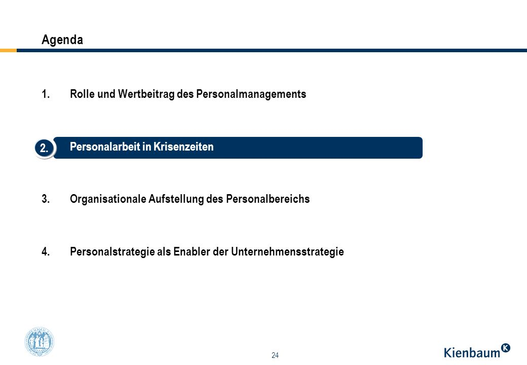 24 1.Rolle und Wertbeitrag des Personalmanagements 2.Personalarbeit in Krisenzeiten 3.Organisationale Aufstellung des Personalbereichs 4.Personalstrat