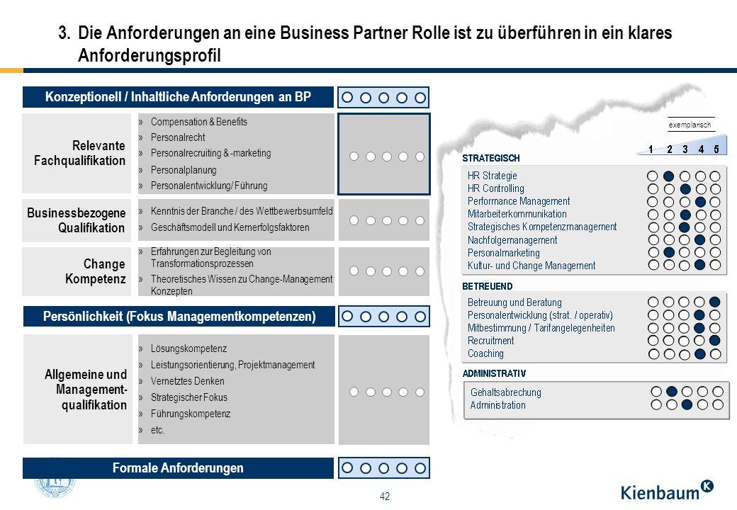 42 Konzeptionell / Inhaltliche Anforderungen an BP Change Kompetenz Allgemeine und Management- qualifikation »Lösungskompetenz »Leistungsorientierung,