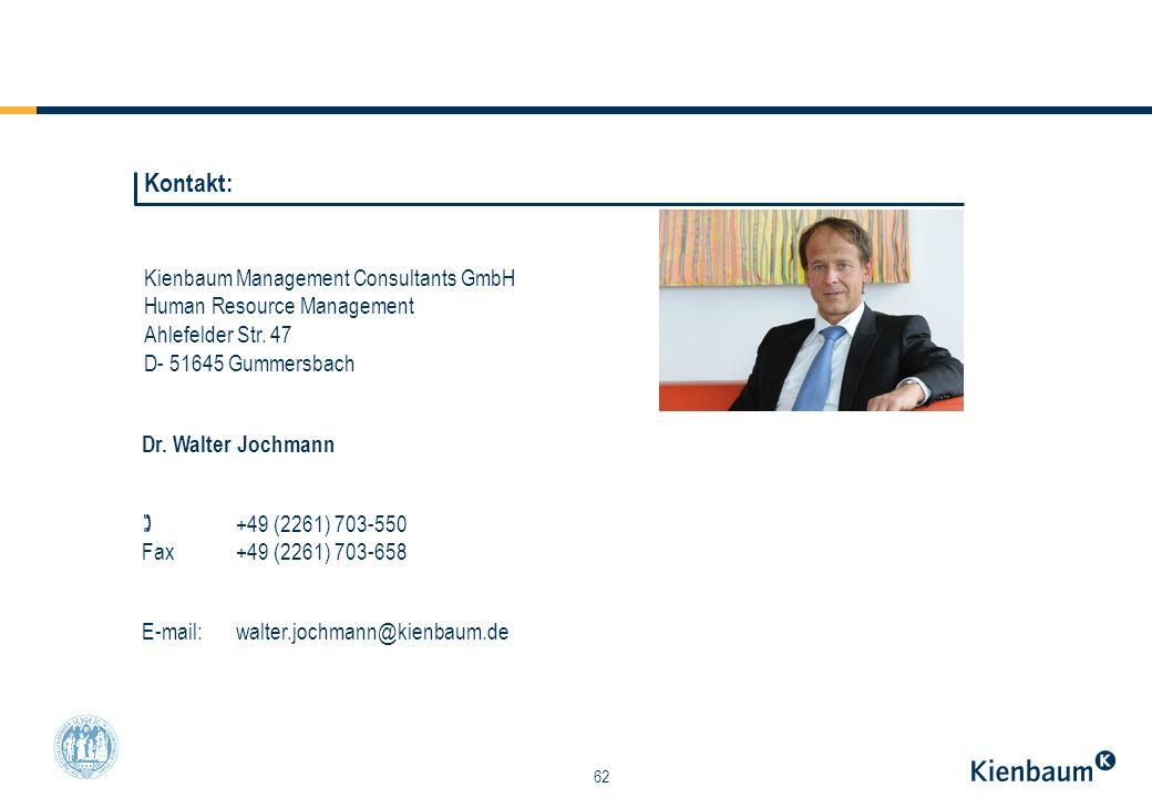 62 Kienbaum Management Consultants GmbH Human Resource Management Ahlefelder Str. 47 D- 51645 Gummersbach Dr. Walter Jochmann +49 (2261) 703-550 Fax +