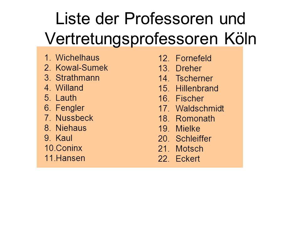 Liste der Professoren und Vertretungsprofessoren Köln 1.Wichelhaus 2.Kowal-Sumek 3.Strathmann 4.Willand 5.Lauth 6.Fengler 7.Nussbeck 8.Niehaus 9.Kaul