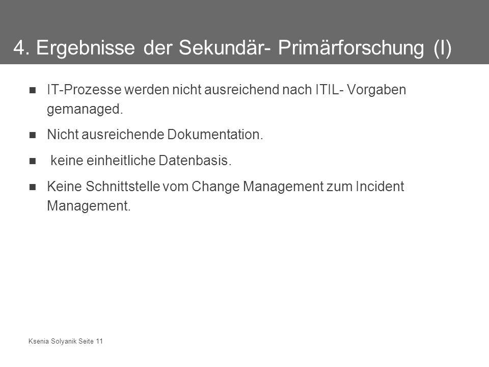 Ksenia Solyanik Seite 11 4. Ergebnisse der Sekundär- Primärforschung (I) IT-Prozesse werden nicht ausreichend nach ITIL- Vorgaben gemanaged. Nicht aus