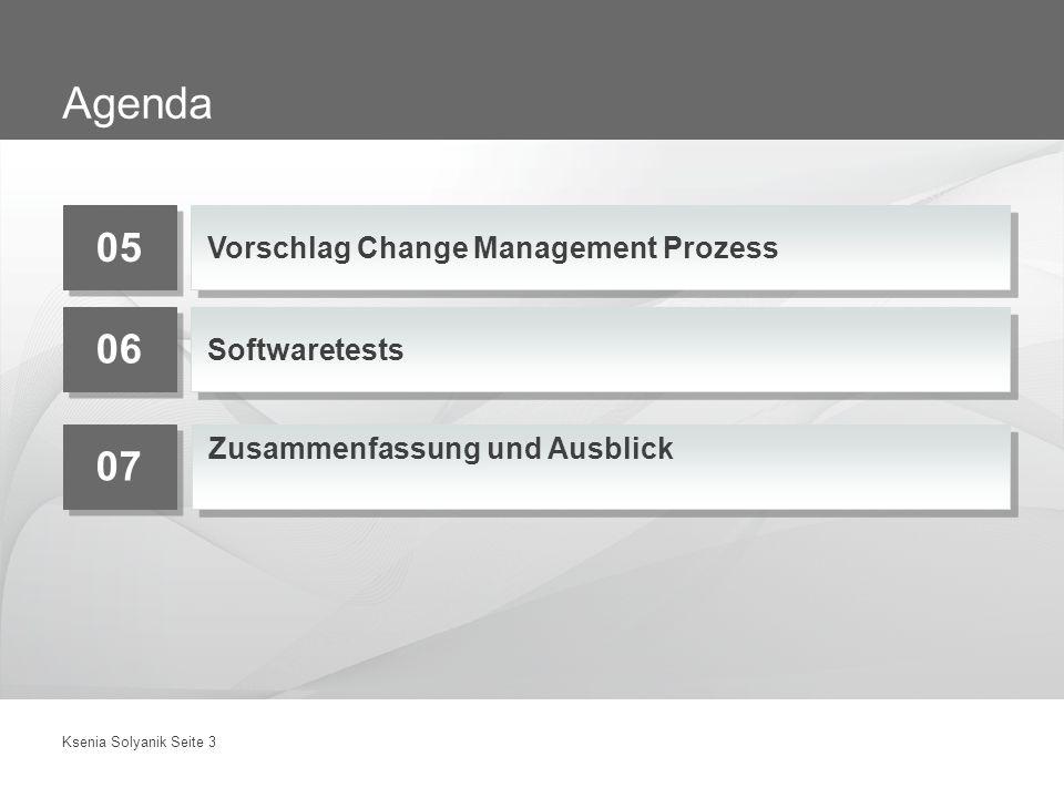 Ksenia Solyanik Seite 3 Agenda 05 Vorschlag Change Management Prozess 06 Softwaretests 07 Zusammenfassung und Ausblick