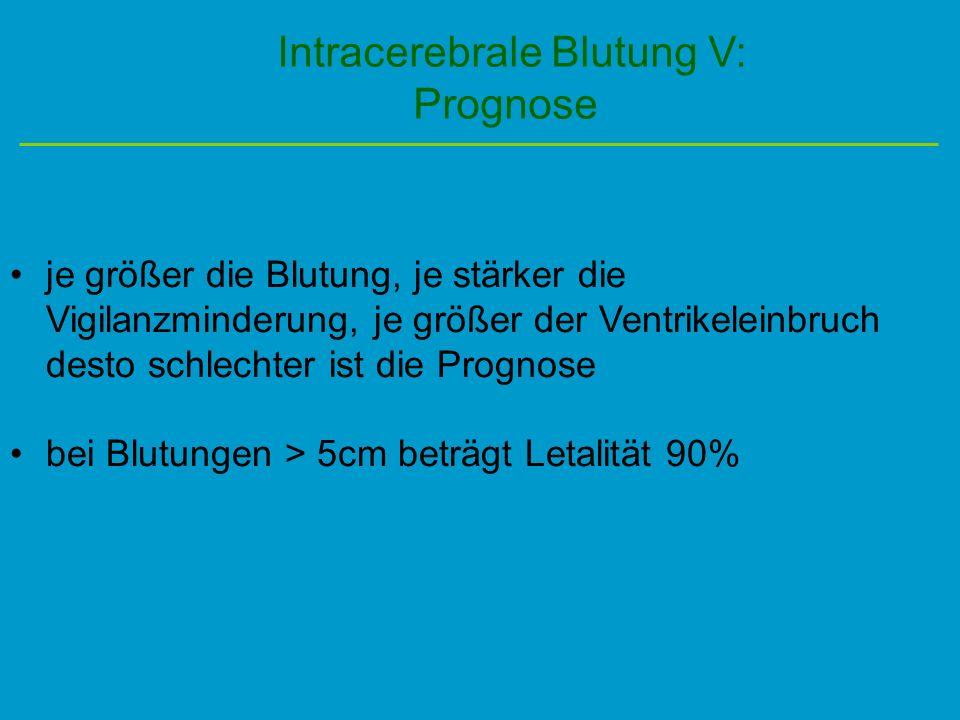 Intracerebrale Blutung V: Prognose je größer die Blutung, je stärker die Vigilanzminderung, je größer der Ventrikeleinbruch desto schlechter ist die P