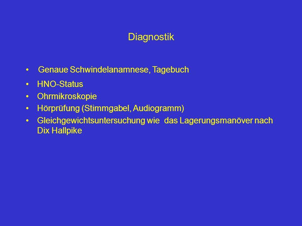 HNO-Status Ohrmikroskopie Hörprüfung (Stimmgabel, Audiogramm) Gleichgewichtsuntersuchung wie das Lagerungsmanöver nach Dix Hallpike Diagnostik Genaue