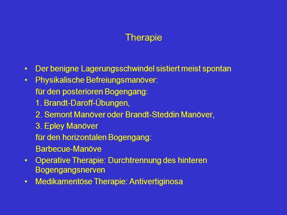Therapie Der benigne Lagerungsschwindel sistiert meist spontan Physikalische Befreiungsmanöver: für den posterioren Bogengang: 1. Brandt-Daroff-Übunge