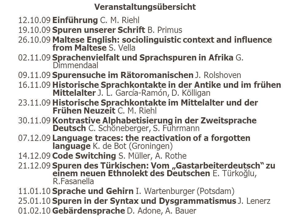 Veranstaltungsübersicht 12.10.09 Einführung C.M. Riehl 19.10.09 Spuren unserer Schrift B.