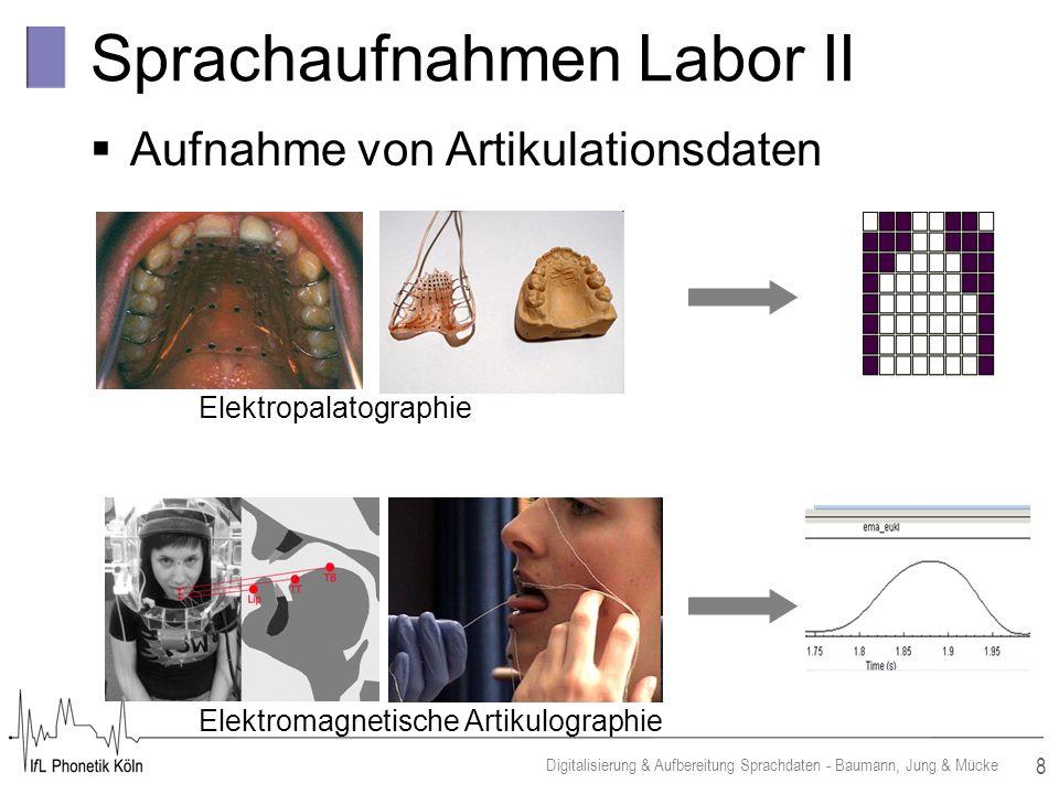 8 Digitalisierung & Aufbereitung Sprachdaten - Baumann, Jung & Mücke Sprachaufnahmen Labor II Aufnahme von Artikulationsdaten Elektromagnetische Artikulographie Elektropalatographie