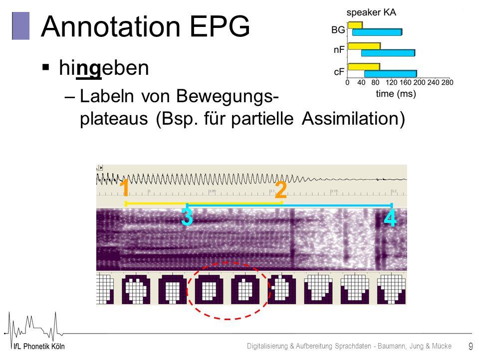 9 Digitalisierung & Aufbereitung Sprachdaten - Baumann, Jung & Mücke Annotation EPG hingeben –Labeln von Bewegungs- plateaus (Bsp.