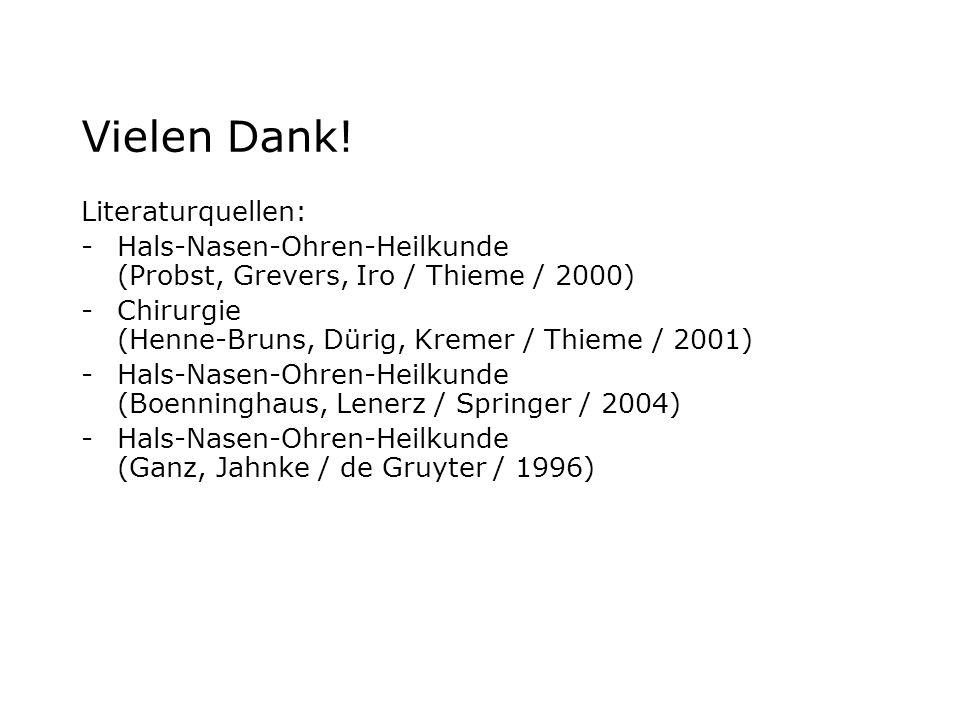Vielen Dank! Literaturquellen: -Hals-Nasen-Ohren-Heilkunde (Probst, Grevers, Iro / Thieme / 2000) -Chirurgie (Henne-Bruns, Dürig, Kremer / Thieme / 20
