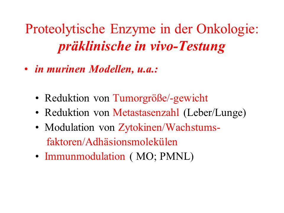 Proteolytische Enzyme in der Onkologie: präklinische in vivo-Testung in murinen Modellen, u.a.: Reduktion von Tumorgröße/-gewicht Reduktion von Metast