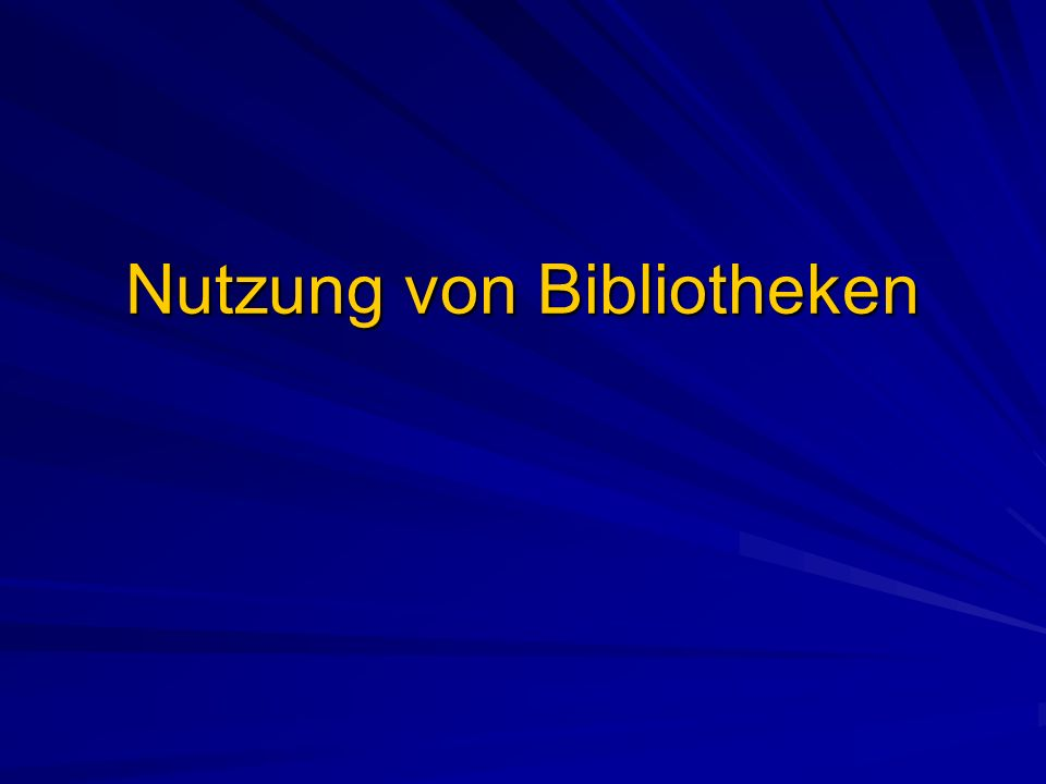 Nutzung von Bibliotheken