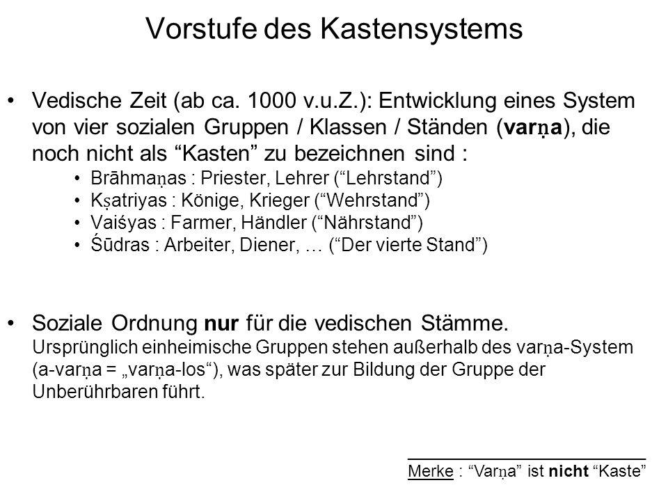 Vorstufe des Kastensystems Vedische Zeit (ab ca.