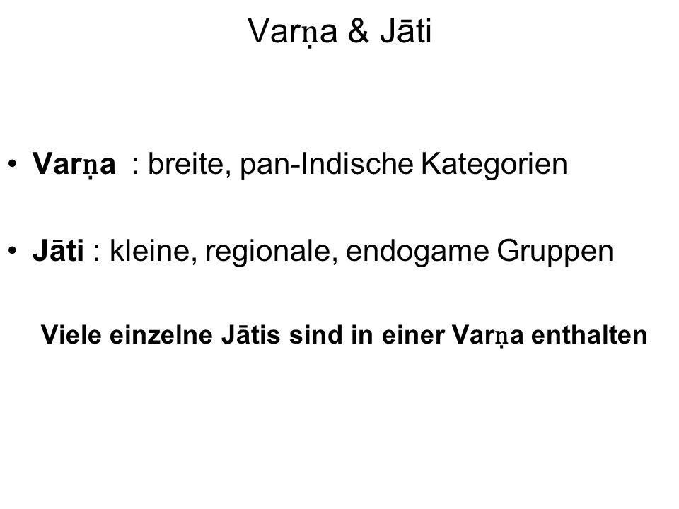Var a & Jāti Var a : breite, pan-Indische Kategorien Jāti : kleine, regionale, endogame Gruppen Viele einzelne Jātis sind in einer Var a enthalten