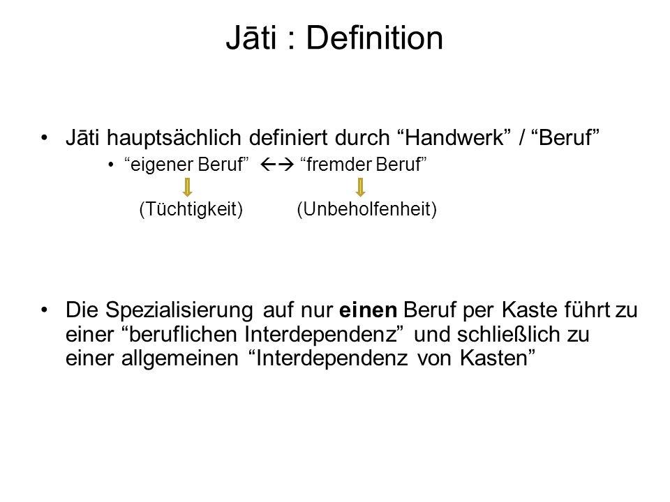 Jāti hauptsächlich definiert durch Handwerk / Beruf eigener Beruf fremder Beruf (Tüchtigkeit) (Unbeholfenheit) Die Spezialisierung auf nur einen Beruf per Kaste führt zu einer beruflichen Interdependenz und schließlich zu einer allgemeinen Interdependenz von Kasten Jāti : Definition