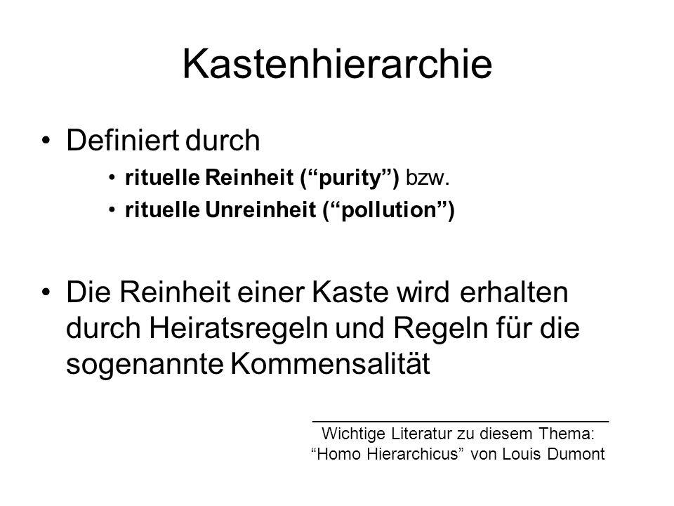 Kastenhierarchie Definiert durch rituelle Reinheit (purity) bzw.
