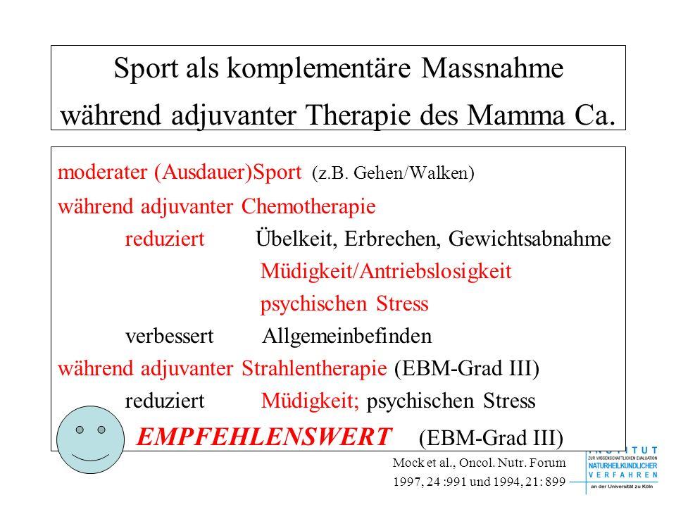 Sport als komplementäre Massnahme während adjuvanter Therapie des Mamma Ca. moderater (Ausdauer)Sport (z.B. Gehen/Walken) während adjuvanter Chemother
