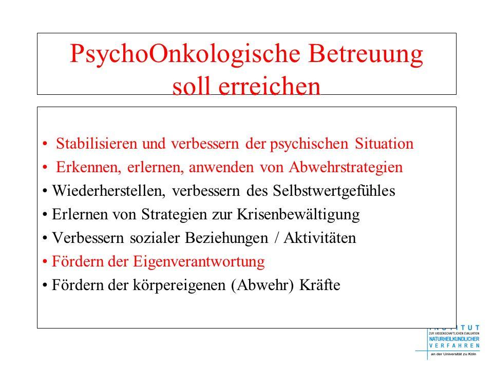 PsychoOnkologische Betreuung soll erreichen Stabilisieren und verbessern der psychischen Situation Erkennen, erlernen, anwenden von Abwehrstrategien W